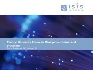 Theory: University Research Management issues and processes