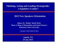 Thinking, Acting and Leading Strategically - State Legislative ...