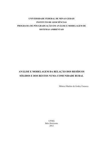 ANÁLISE E MODELAGEM DA RELAÇÃO DOS RESÍDUOS ... - UFMG