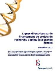 Lignes directrices sur le financement de projets ... - Genome Canada