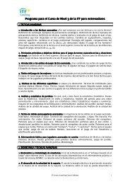 Programa para el C Programa para el Curso de Nivel 3 de la ITF ...