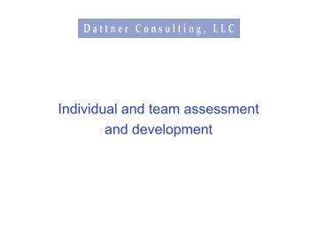 Individual and Team Assessment and Development - Dattner ...