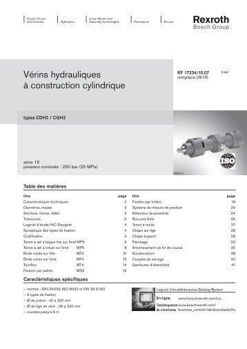 Vérins hydrauliques à construction cylindrique