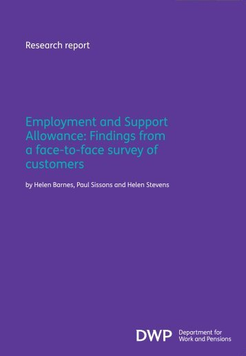 Employment and Support Allowance: Findings from a face ... - Gov.uk