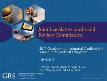 Briefing - Virginia Joint Legislative Audit and Review Commission ...