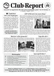 Club Report 1/2011 - Offene Kinder- und Jugendarbeit in Potsdam