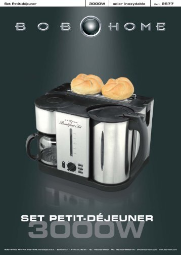 Set Petit-déjeuner 3000W acier inoxydable - BOB HOME