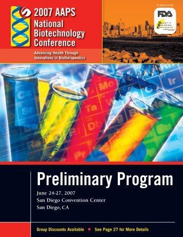 Preliminary Program - American Association of Pharmaceutical ...