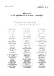Offener Brief an die Abgeordneten des Deutschen Bundestages