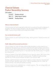 Chemical solvents product stewardship summary