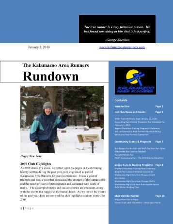 Rundownwsletter - Kalamazoo Area Runners