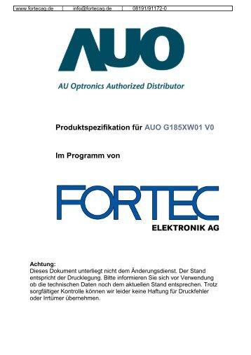 Produktspezifikation für AUO G185XW01 V0 Im ... - Fortec AG