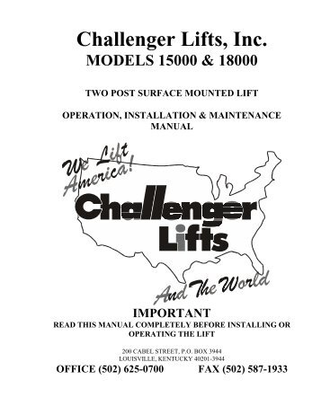 Challenger lift manual array model cl9 installation o rh yumpu com fandeluxe Choice Image