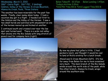 2010/03/03 Snowy Salado - Jeff's Flight Log