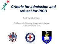 Andrew Argent Criteria for admission and refusal to PICU