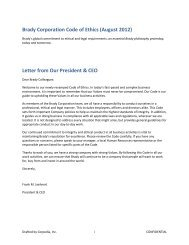 Brady Corporation Code of Ethics (August 2012) Letter from Our ...