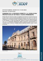 gobierno de la provincia remitió a la legislatura proyecto de ley de ...