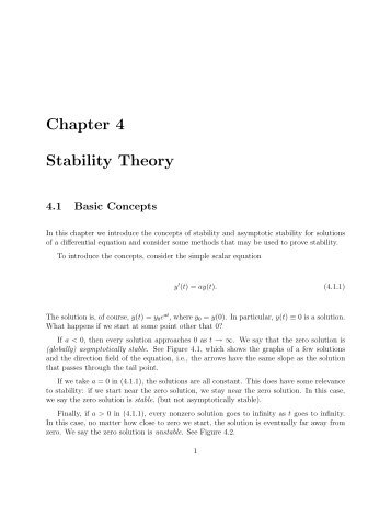 Chapter 4 Stability Theory 4.1 Basic Concepts