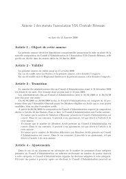 Annexe 1 des statuts l'association VIA Centrale Réseaux