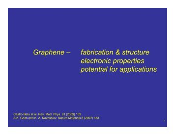 Graphene – fabrication & structure electronic properties potential for ...