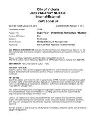 City of Victoria JOB VACANCY NOTICE Internal/External CUPE ...