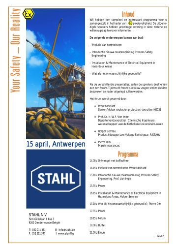 Inhoud Programma 15 april, Antwerpen - Stahl.be