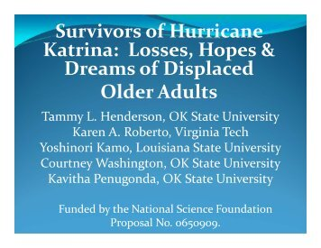 Losses, Hopes & Dreams of Displaced Older Adults - Virginia Tech