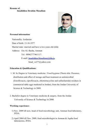 Resume of, Imadidden Ibrahim Musallam Personal information - VISB