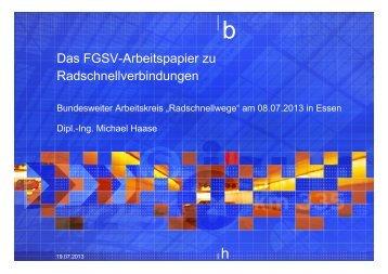 Arbeitspapier Radschnellverbindungen der FGSV