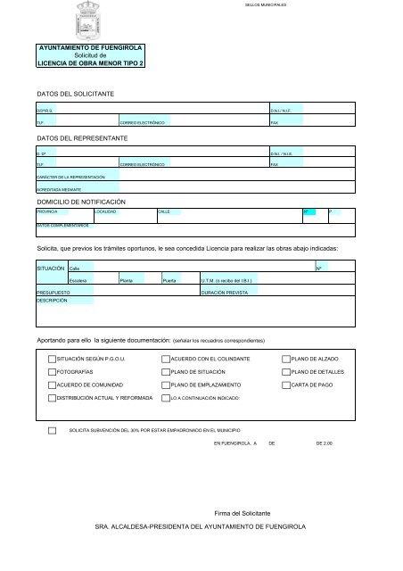 licencia de obra menor tipo 2 - Ayuntamiento de Fuengirola