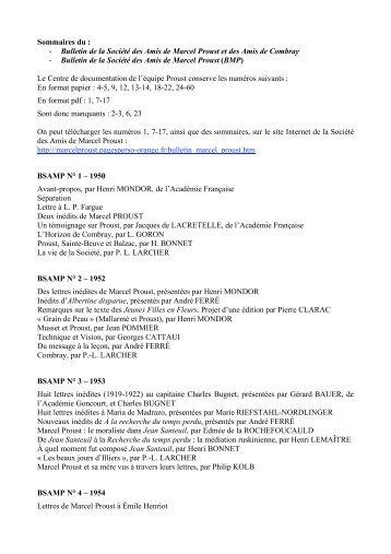 Sommaires du : - Bulletin de la Société des Amis de Marcel ... - Item