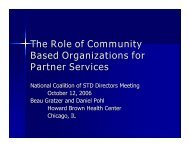 The Role of Community Based Organizations for Partner Services