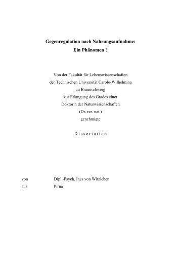Gegenregulation nach Nahrungsaufnahme: - Technische Universität ...