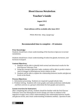 Blood Glucose Metabolism Teacher's Guide