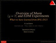 Overview of Muon and EDM Experiments - G-2 group - Boston ...