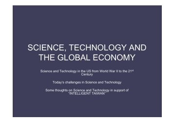 SCIENCE, TECHNOLOGY AND THE GLOBAL ECONOMY