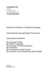 Arabic Handbook pdf - University of Westminster