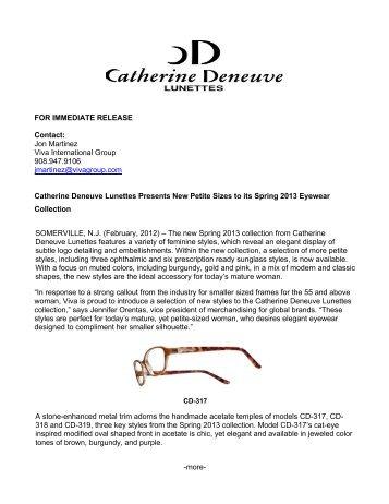 Catherine Deneuve Lunettes Petite Styles Spring 2013 (PDF, 119 KB)