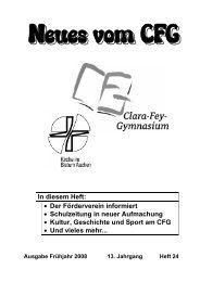 In diesem Heft: • Der Förderverein informiert • Schulzeitung in ... - CFG