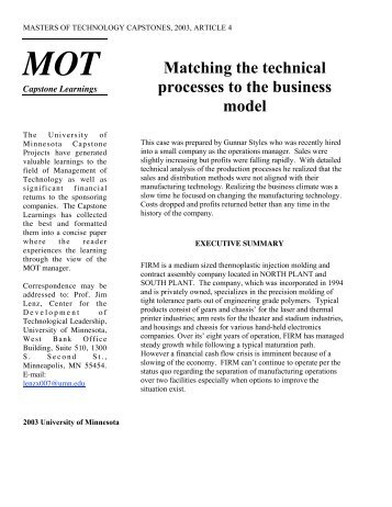 Matching the technical processes to the business model