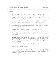Algebra Qualifying Exam, Solutions Spring 2003 Part A. 1. Prove ...