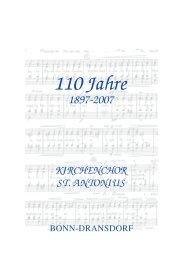 110 Jahre: Kirchenchor St. Antonius - Ortsausschuss Bonn-Dransdorf