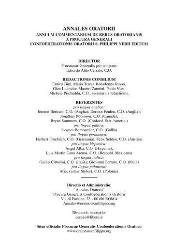 Parte I - Confederazione dell'Oratorio di San Filippo Neri