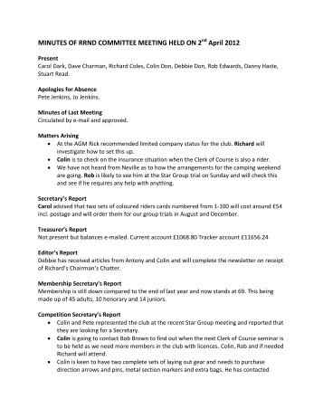MINUTES OF RRND COMMITTEE MEETING HELD ON 2 April 2012