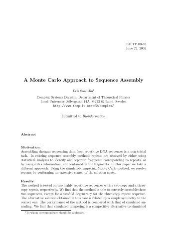 A Monte Carlo Approach to Sequence Assembly - Computational ...