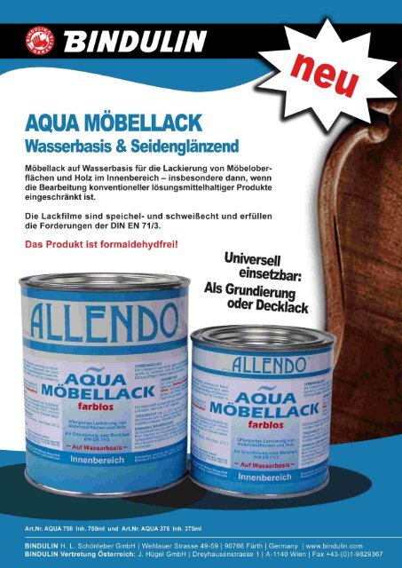 Aqua-Möbellack PDF (750KB) - Bindulin