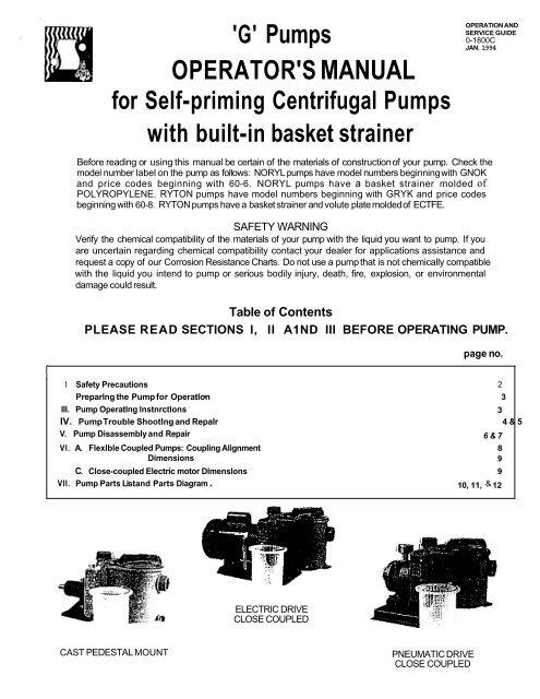 G' Pumps OPERATOR'S MANUAL - Net