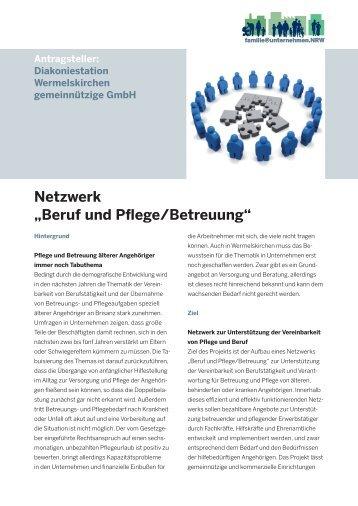 """Netzwerk """"Beruf und Pflege/Betreuung"""" - Ziel2.NRW"""