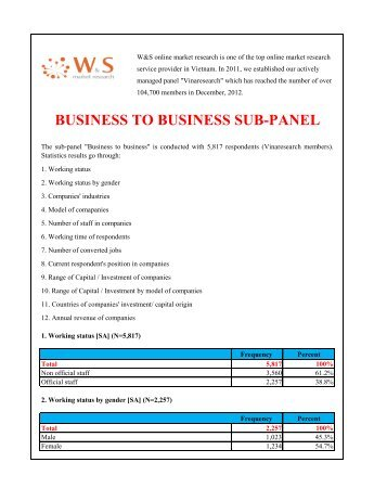 Business to business subpanel (December 2012) - W&S market ...