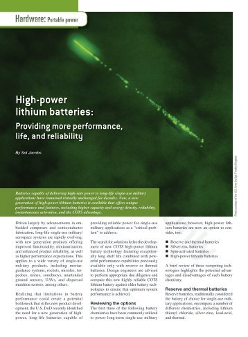 High-power lithium batteries: - Military Embedded Systems